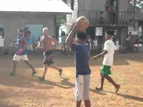 Basketball game on remote island. Sweden-Philippines