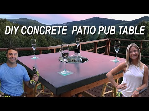 How To Make Concrete Patio Pub Table With Led Lights And Cooler