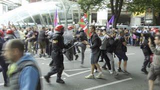 Enfrentamiento entre trabajadores del Metal y la Ertzaintza en Bilbao