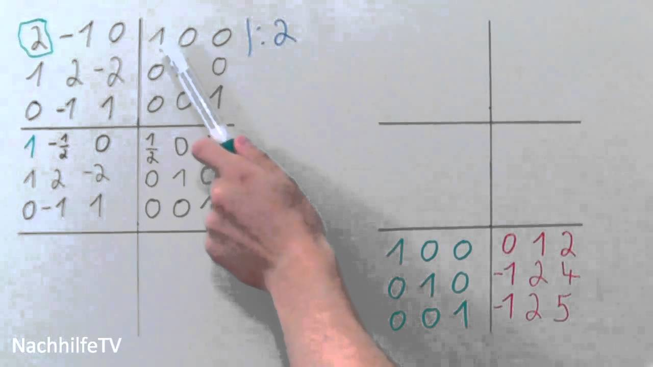 inverse matrix berechnen nach gauss jordan youtube