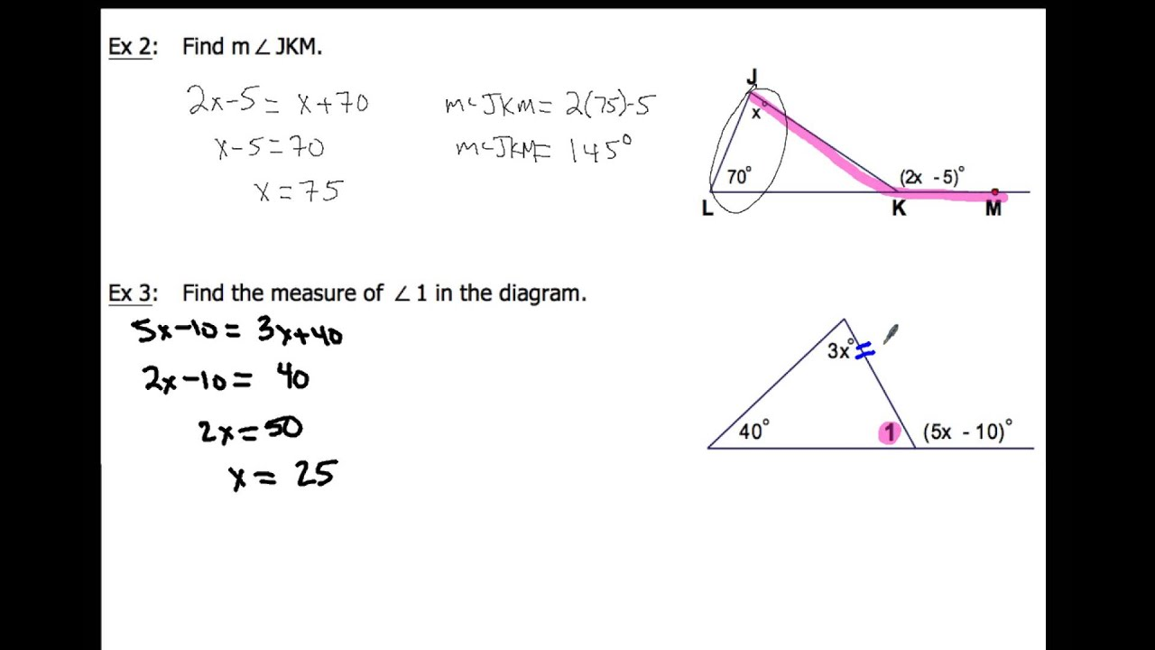 4 1 apply triangle sum properties examples 2 4 youtube - The exterior angle theorem answers ...