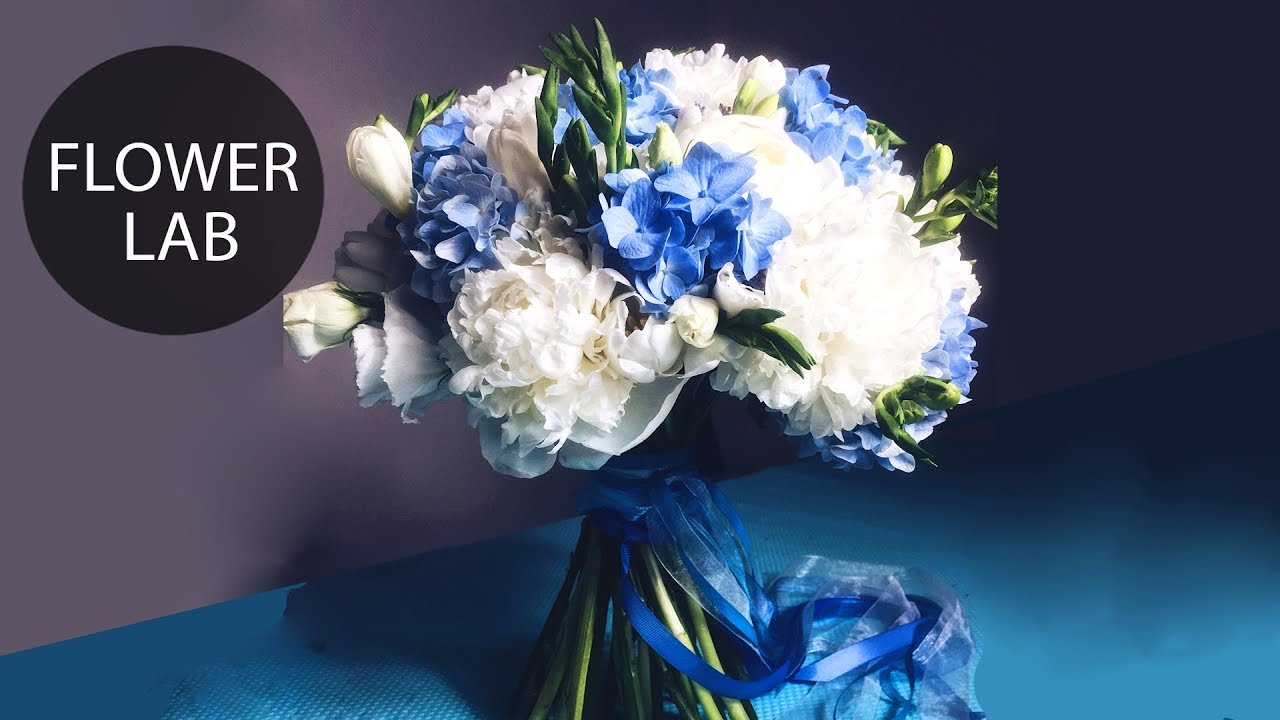Wedding Bouquet With Blue Hydrangea Diy Wedding Bouquet Youtube