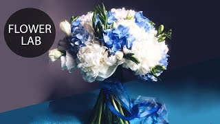 Wedding bouquet with Blue Hydrangea | DIY Wedding bouquet