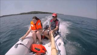 Yamaha F 9.9 HP four stroke and inflatable boat 330, wakeboarding