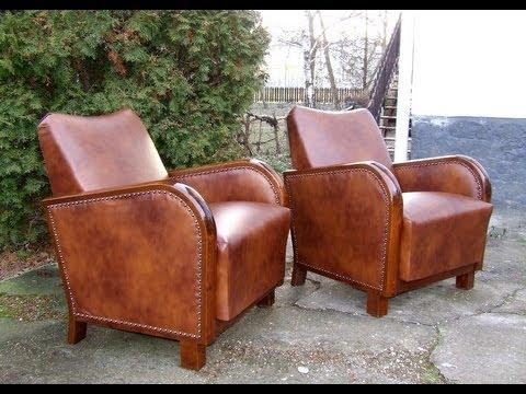 Art Deco Leather Club Chairs. 1920u0027s Art Deco Armchairs.   YouTube