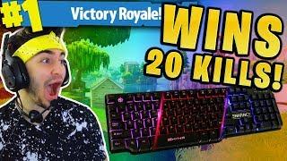 KEYBOARD CAM WINS ON FORTNITE!! (20 KILLS GAMEPLAY!)