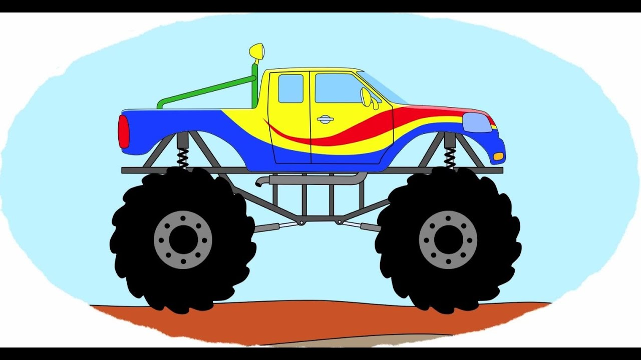 Cartoni Animati Coloriamo Insieme Il Monster Truck Youtube