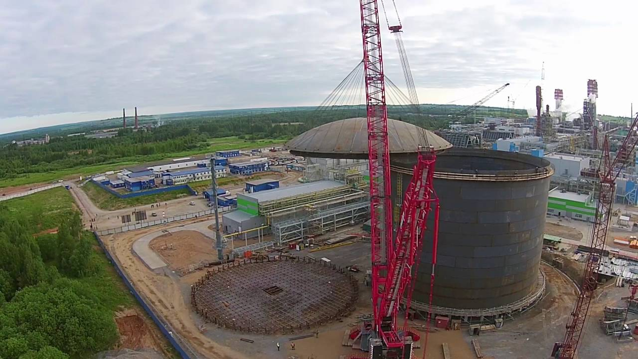 Ammonia Storage Tank Roof Erection Video In Russia Youtube