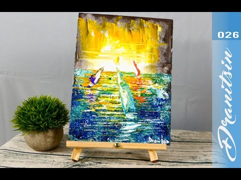 Sail Boats   Simple and Relaxing   Abstract Painting   For Beginners   Palette Knife   026