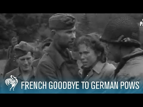 French Women Tearily Say Goodbye To German POWs (1944) | British Pathé