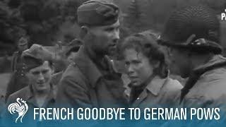 French Women Tearily Say Goodbye To German POWs (1944) | British Pathé