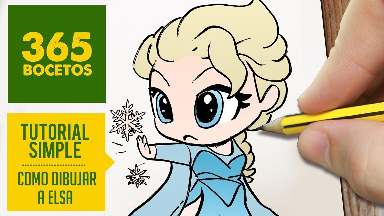 Como Dibujar A Elsa De Frozen Paso A Paso Dibujos Kawaii Faciles