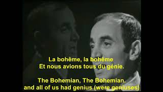 Charles Aznavour   La Boheme   avec Paroles français   with English lyrics