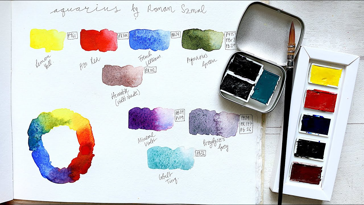 Roman Szmal Aquarius Watercolour Set   Review + Swatches - YouTube