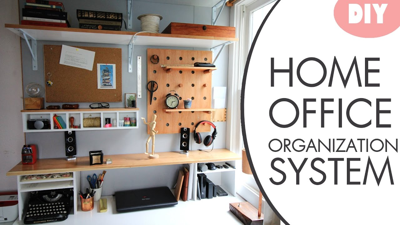 Diy desk organization system w hutch youtube for How to organize your desk diy