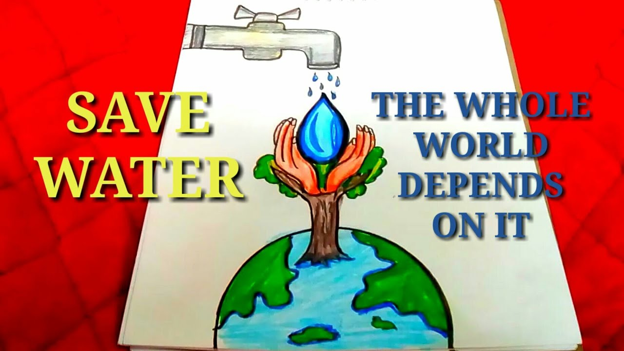 Drawing on save water step by step easy and creative drawing poster