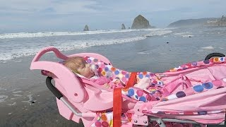 Reborn Baby Doll Goes to the Beach in Joovy Stroller