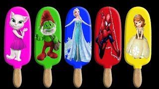 Colors Learn Angela Smurfs Frozen Elsa Sofia Ice Cream Finger Famil...