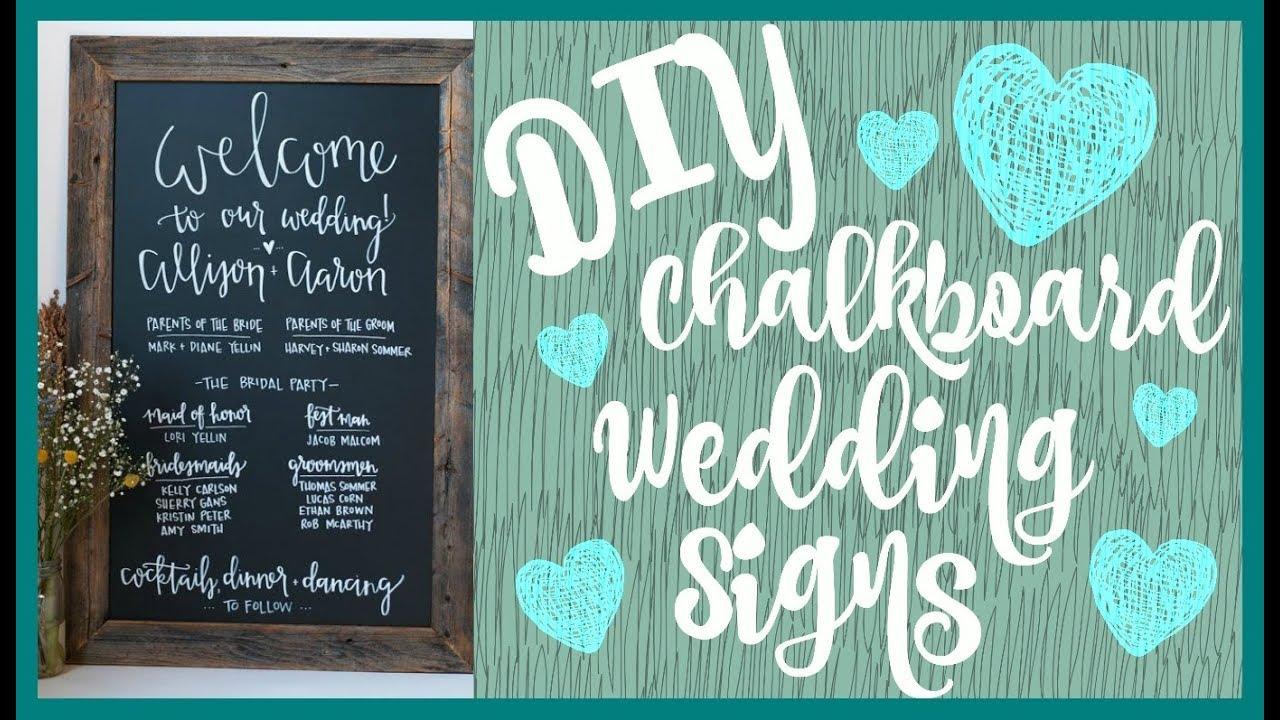 Diy Chalkboard Wedding Sign Bells