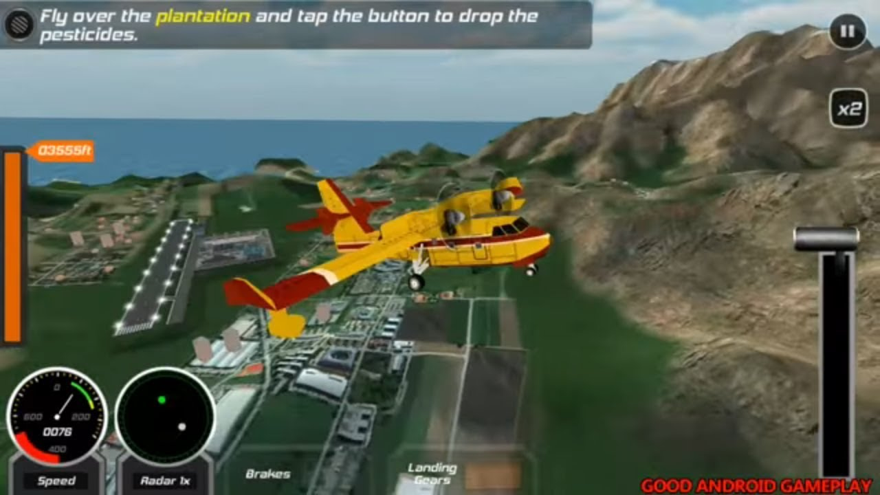Airplane Go Real Flight Simulator #2 - Pesticides Cargo Plane Android  GamePlay FHD