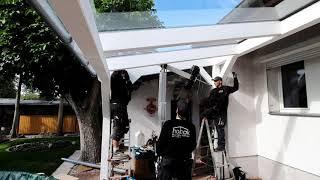 hobak VSG Glas Verlegung auf ein Terrassendach
