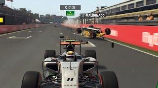 F1 2015. Maldonado vuelca!!  Canadá - Sergio Perez. Gameplay PC. Español