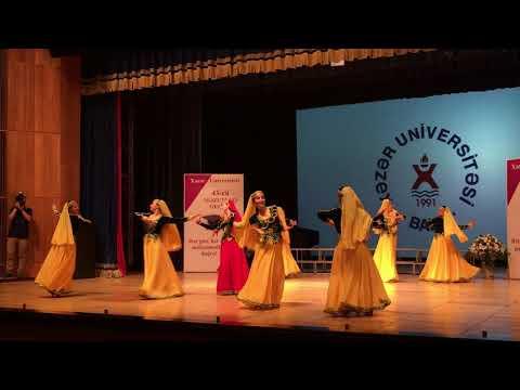 Dance group of Khazar University consisting of girls.  Soloist Valida Karimova