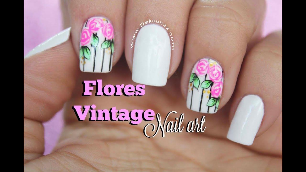 Diseño De Uñas Rosas Vintage Vintage Flowers Nail Art Youtube
