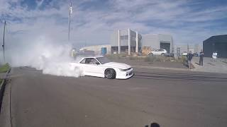 S13 Silvia STREET drifting & massive BURNOUT