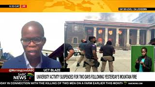UCT blaze   University activity suspended for two days following yesterday's mountain fire