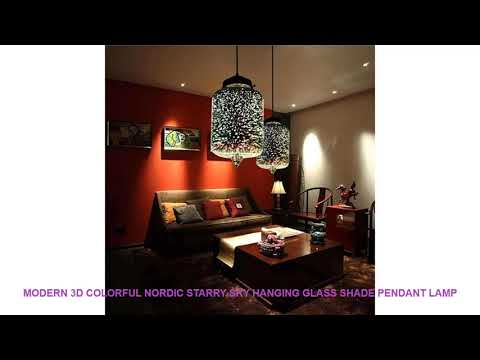 Modern 3D Colorful Nordic Starry Sky Hanging Glass Shade Pendant Lamp
