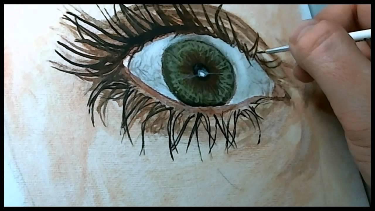 photorealist style eye painting 8x speed reflections marisa