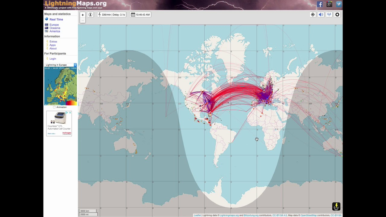 Real Time Lightning Strike Map Live Realtime Lightning Strikes Map   YouTube