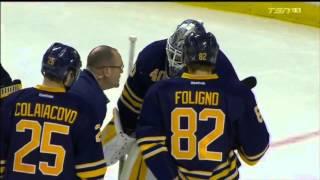 Robin Lehner Injury vs Ottawa (10/8/15)