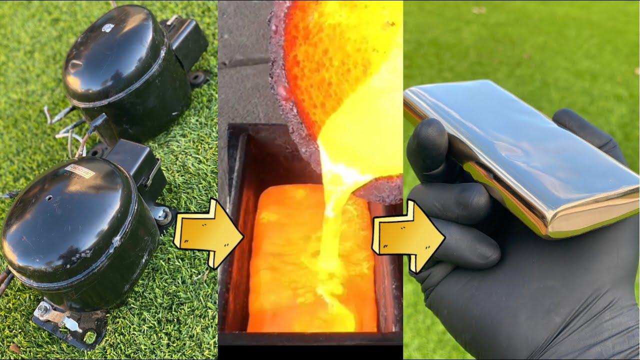 Fridge Compressor Copper Casting - Trash To Treasure - ASMR Metal Melting -BigStackD Casting -Bronze