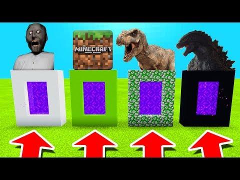 Minecraft PE : DO NOT CHOOSE THE WRONG PORTAL! (Granny, Minecraft, Tyrannosaurus & Godzilla) thumbnail