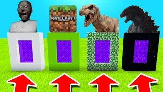 Minecraft PE : DO NOT CHOOSE THE WRONG PORTAL! (Granny, Minecraft, Tyrannosaurus & Godzilla)
