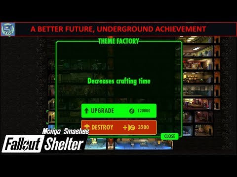 Fallout Shelter (Steam) -  A Better Future, Underground Achievement (Upgrade 20 Rooms To Level 3)