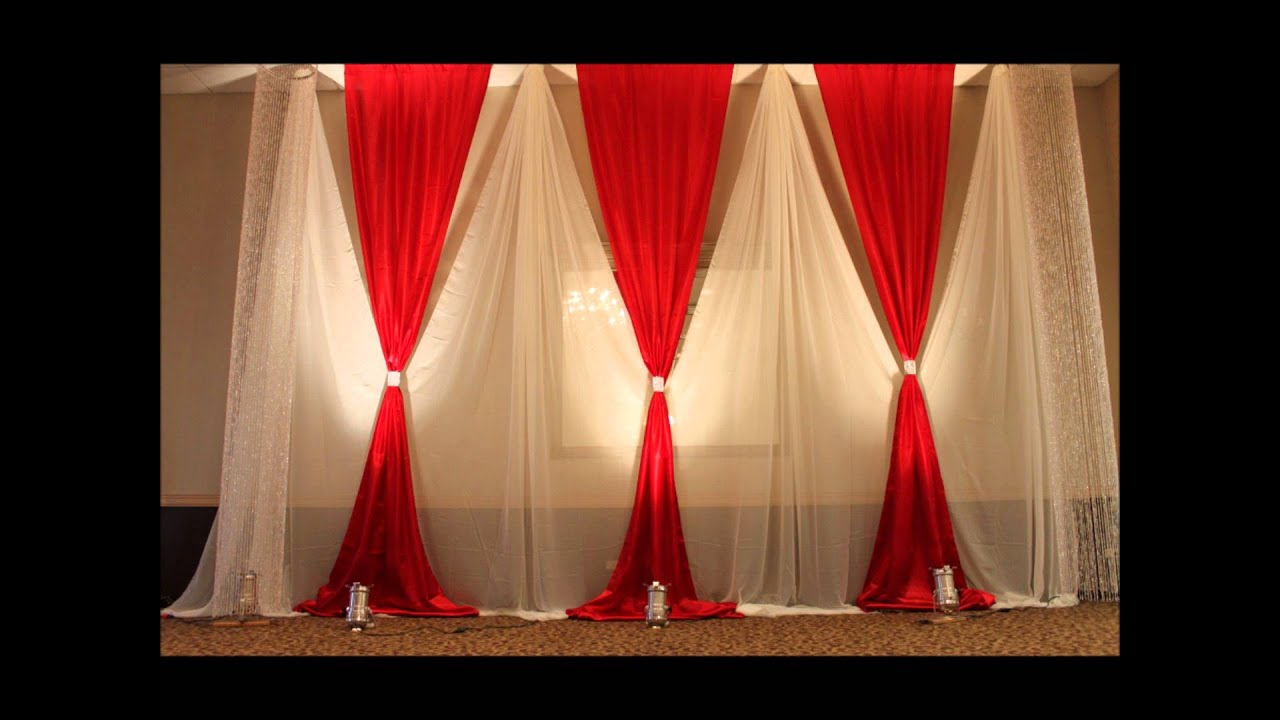 Aga wedding and event decor youtube for Background curtain decoration