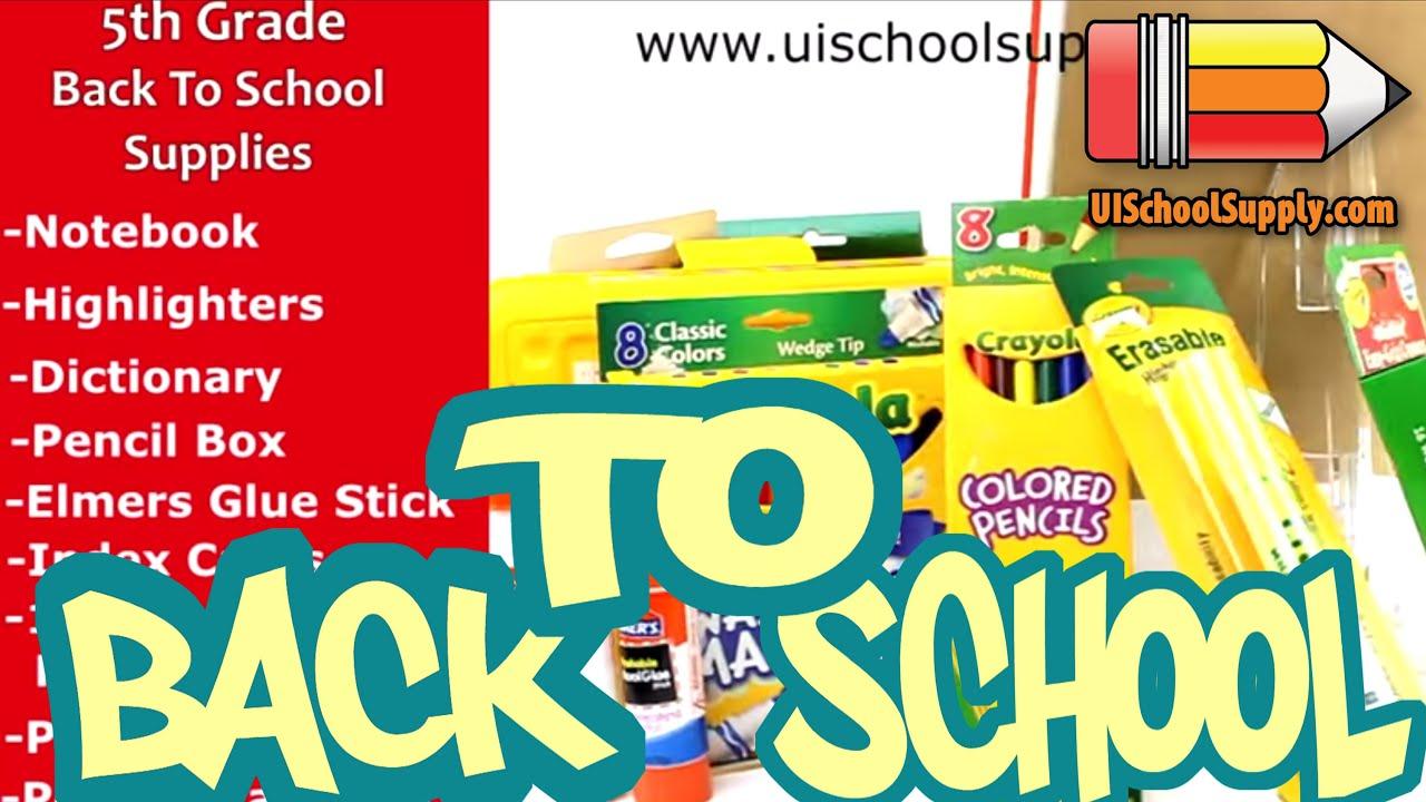 5th Grade Back To School Supplies Check List