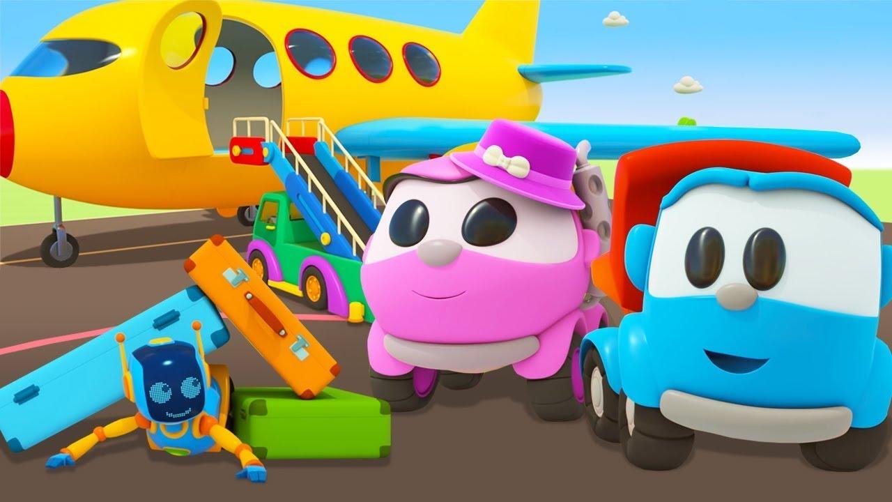 A Leia vai viajar de avião! Léo o caminhão! Desenho animado para crianças