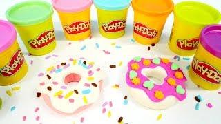 Donuts aus Play Doh. Farben lernen und basteln für kinder. Spielspaß mit Playdoh