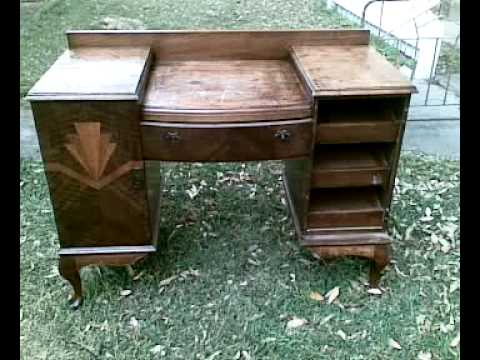 1930s Art Deco Antique Dressing Table with Door Inlay for Auction via Ebay