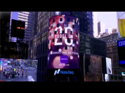 Yahoo - 20th Anniversary - Yodel On - NASDAQ Sign Animation in Times Square