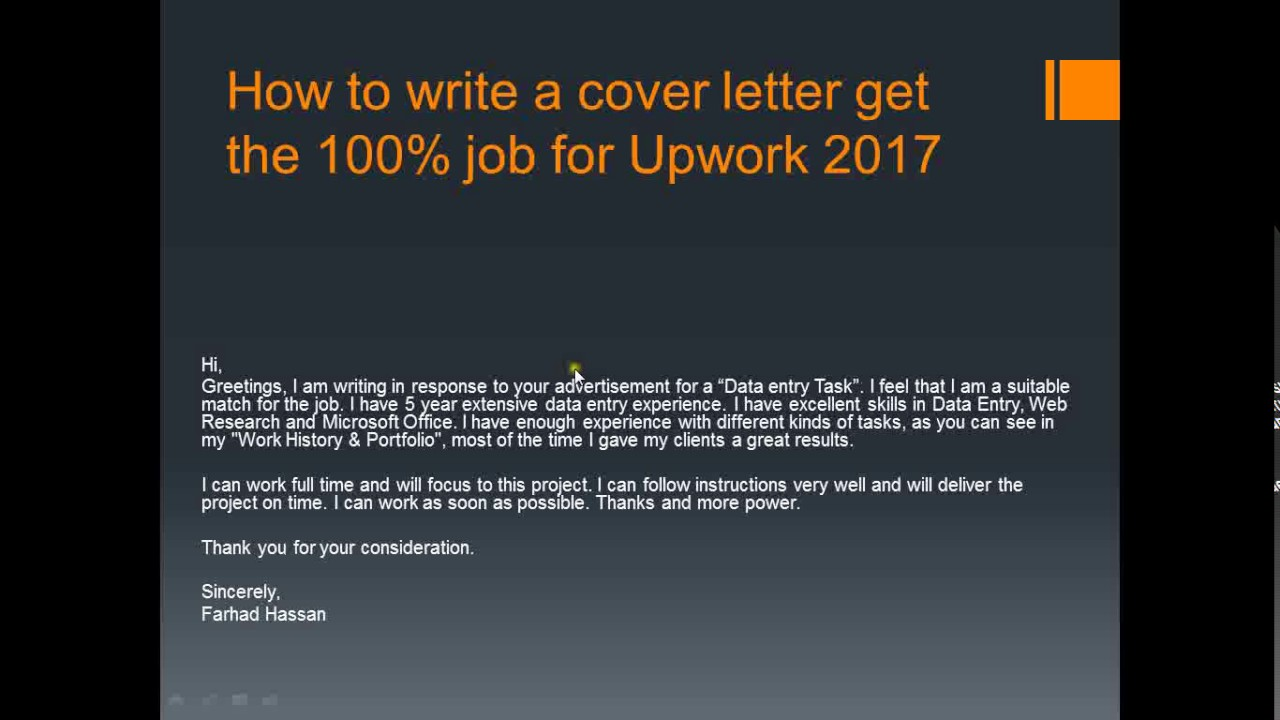 HOW TO WRITE A DATA ENTRY COVER LETTER GET THE 100 JOB FOR UPWORK 2017  YouTube