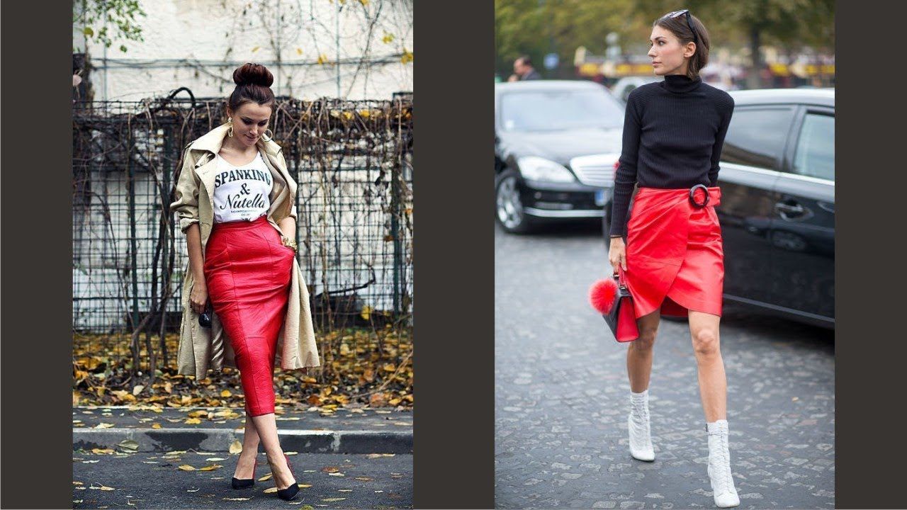 Red Leather Pencil Skirt