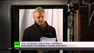 Assange asks supporters to question authority during embassy speech