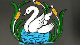 Simple and cute rangoli...5to3 dots...daily kolam...apartment kolam...easy rangoli design...