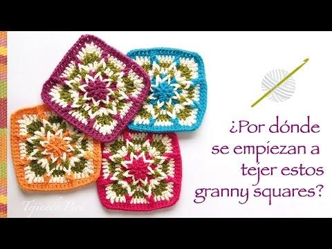 Cuadrado o granny square tejido a crochet, por dónde se empieza a tejer? Incluye diagramas ;)