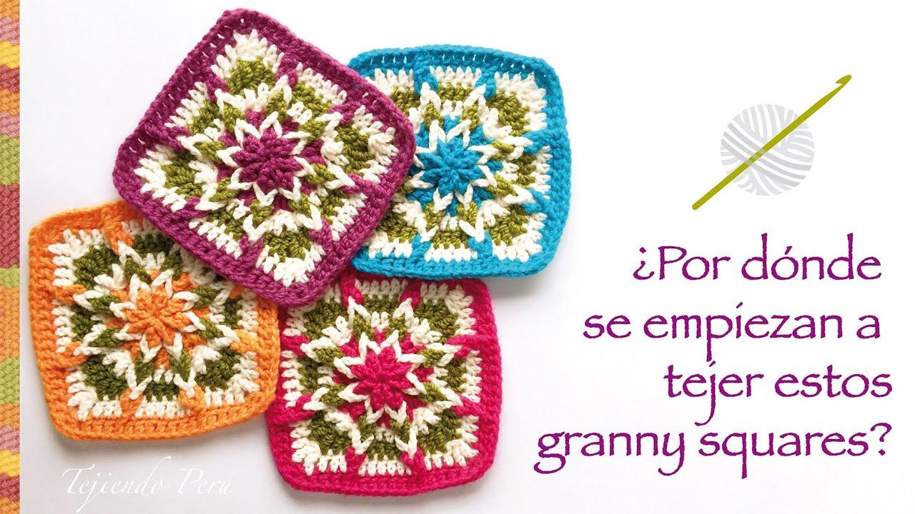 Granny square invertido tejido a crochet - Incluye diagramas ...